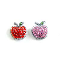 8 mm slide charms set with rhinestone pink and red 2 pcs