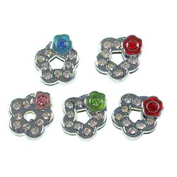 8mm slide charms set with rhinestone,fits 8mm width leather band