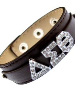 Greek alloy letter slidable bracelet wristband – 3 buttons brown