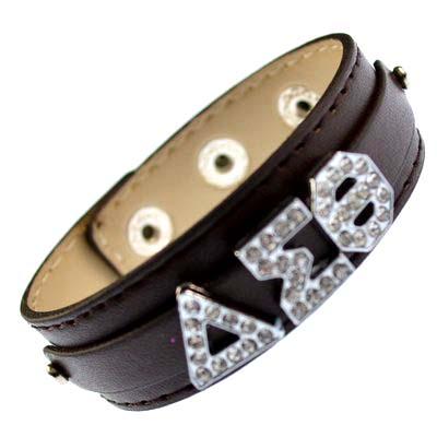 Greek alloy letter slidable bracelet wristband – 3 buttons brown