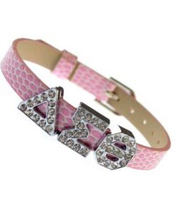 Sliding Greek Letter 8mm Bracelet Wristband – Pink