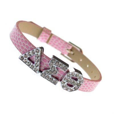 Sliding Greek Letter 8mm Bracelet Wristband – Pink