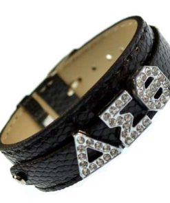 Greek alloy letter slidable bracelet wristband – 3 buttons black