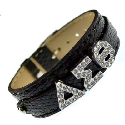 Greek alloy letter slidable bracelet wristband – 3 buttons black