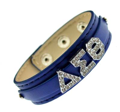 Greek letter slidable bracelet wristband – 3 buttons blue