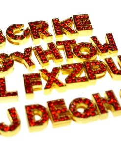 gold 8 mm red rhinestone sliding alloy letters A to Z 10×26