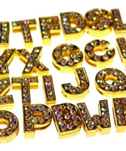 gold 8 mm AB rhinestone sliding alloy letters A to Z 10×26