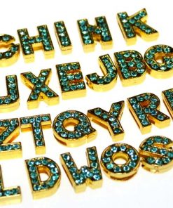 gold 8 mm  light blue rhinestone sliding alloy letters A to Z 10×26