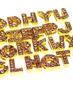 Gold 8 mm pink rhinestone sliding alloy letters A to Z 10×26