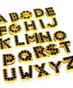 gold 8mm  black rhinestone sliding alloy letters A to Z 10×26