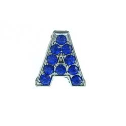 8 mm deep blue rhinestone sliding alloy letters A to Z 10×26