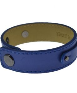 3 button dark blue leather wrist strap for 8 mm slides 8 inches