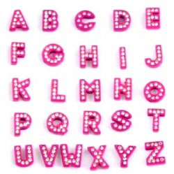 8mm red painted white rhinestone sliding alloy letters A to Z 10×26