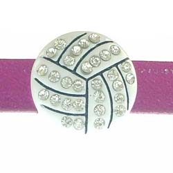 Volleyball slide charms 8 mm ,rhinestone and enamel