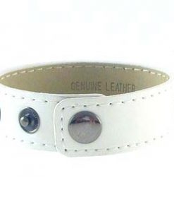 3 button white leather wristband for 8 mm slides 8 inches