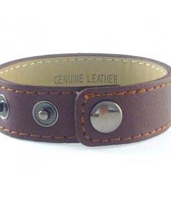 3 button brown leather wrist strap for 8 mm slides 8 inches