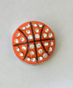 Basketball slide charms 8 mm ,rhinestone and enamel