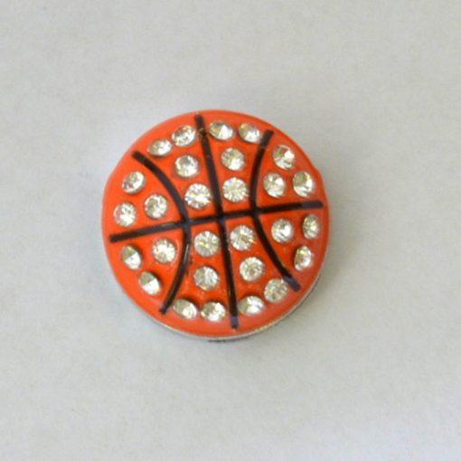 Basketball slide charms 8 mm ,rhinestone and enamel