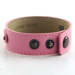 3 button pink leather wristband for 8 mm slides 8 inches
