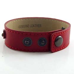 3 button red leather wrist strap for 8 mm slides 8 inches