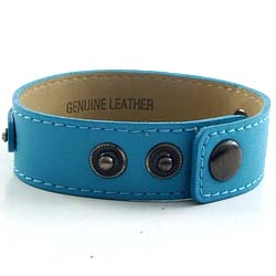 3 button lake blue leather wristband for 8 mm slide 8 inch