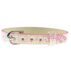 Pink – 8mm leather bands slide charm bracelets-Bling Bling