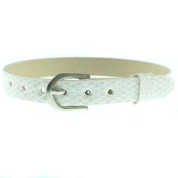 White – 8mm leather bands slide charm bracelets-Bling Bling