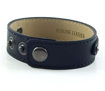3 button black leather wrist strap for 8 mm slides 8 inches