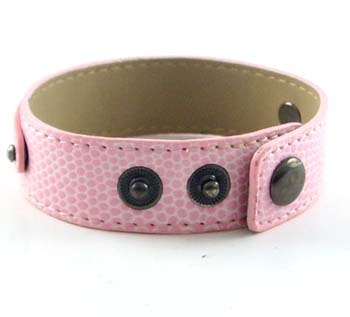3 button snake-shaped pink wristband for 8 mm slider 8 inches