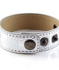 3 button PU serpentine silver wristband with 8 mm letters and accessories 8″