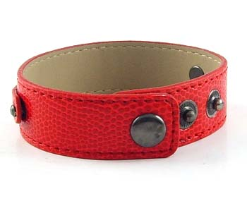 3 button-snake red wristband for 8 mm slides 8 inches
