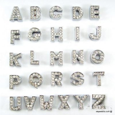 8 mm white rhinestone alloy letters A to Z 10 pcs