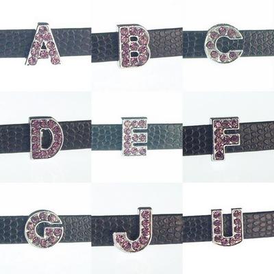 8 mm purple rhinestone sliding alloy letters A to Z 10×26