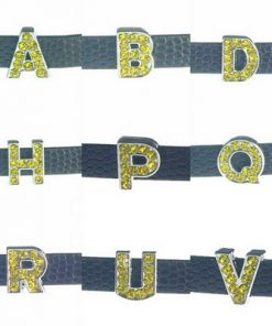 8 mm yellow rhinestone sliding alloy letters A to Z 10×26