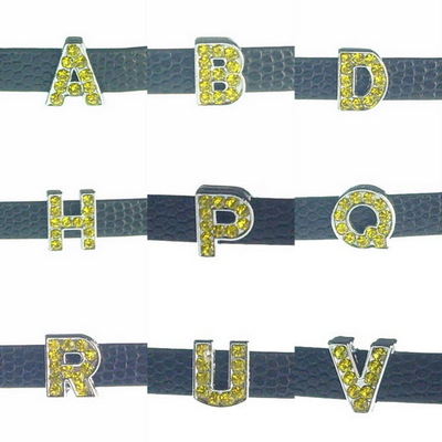 A to Z 260 sliding letters yellow, suitable for 8 mm wide leather, steel belt…