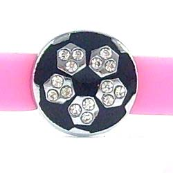 Handball slide charms 8 mm,black enamel clear crystal
