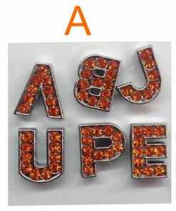 8 mm orange rhinestone sliding alloy letters A to Z 10×26