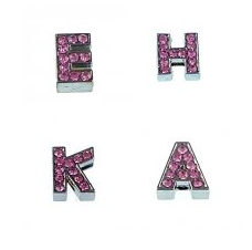 8 mm pink rhinestone sliding alloy letter A to Z 10 pcs/bag