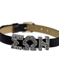 Sliding Greek Letter 8mm Bracelet Wrist Strap – Black