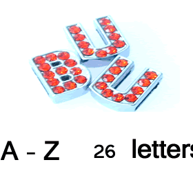 8 mm red rhinestone sliding alloy letter A to Z 10 pcs