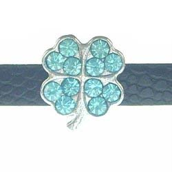 8 mm light blue four-leaf clover rhinestone sliding alloy fittings 10 pcs
