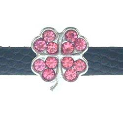 8mm pink four-leaf clover rhinestone sliding alloy fittings 10 pcs