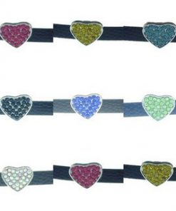 8 mm alloy sliding full diamond heart shape multi color optional 10 pcs/bag