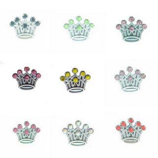 8mm multi-color optional rhinestone sliding crown alloy fittings 10 pcs