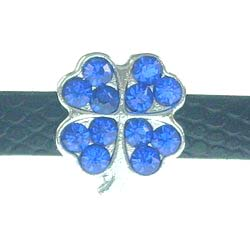 8mm dark blue four-leaf clover rhinestone sliding alloy fittings 10 pcs