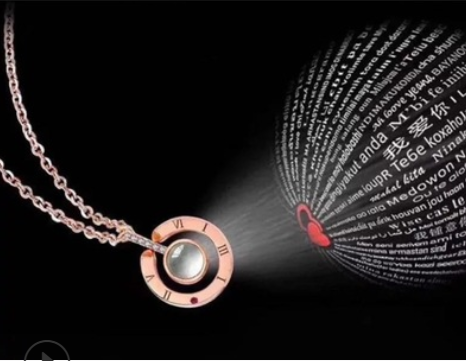 18-inch Internet sensational projection necklace, 100 languages express I love you. Two ways to use. Metal