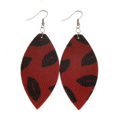 Fashion drop-shaped leather earrings for all types of people, lightweight and comfortable Stainless steel earrings hook 5.8 * 3.5 cm