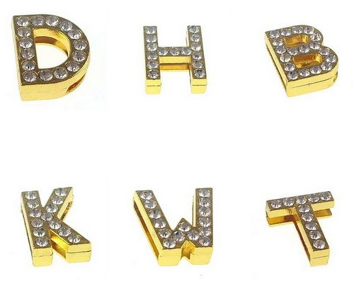 18 mm wear with alloy gold rhinestone letter accessories for 18 mm leather belts and steel belts
