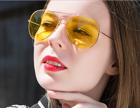 Larger children's sunglasses, adult sunglasses yellow