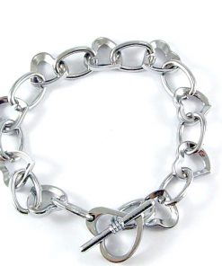 Heart Shaped Alloy Bracelet 8 inch